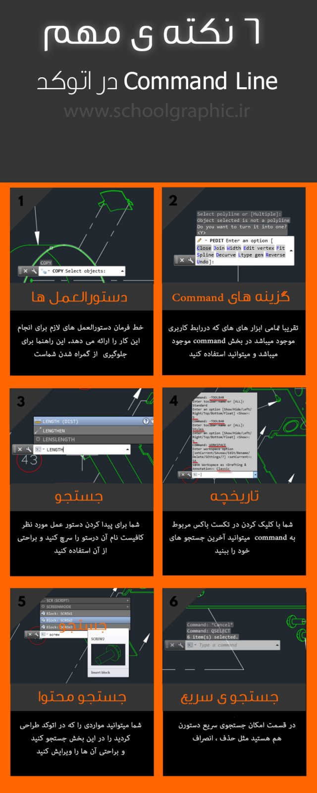 6 Things AutoCAD Command Line Can Do for You - ۶ کاربرد مهم Command Line در اتوکد (اینفوگرافیک)