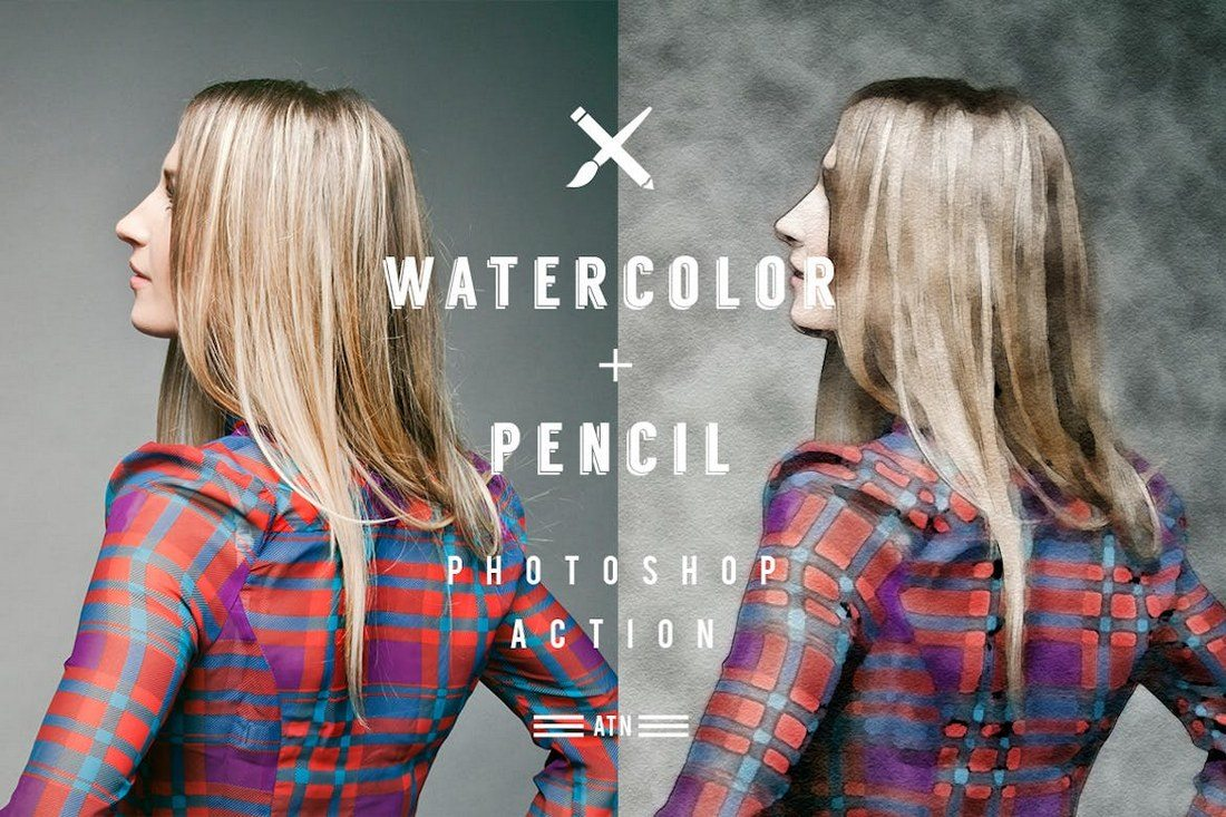 Watercolor and Pencil Action for Photoshop - معرفی ۲۰ اکشن آبرنگی برای فتوشاپ