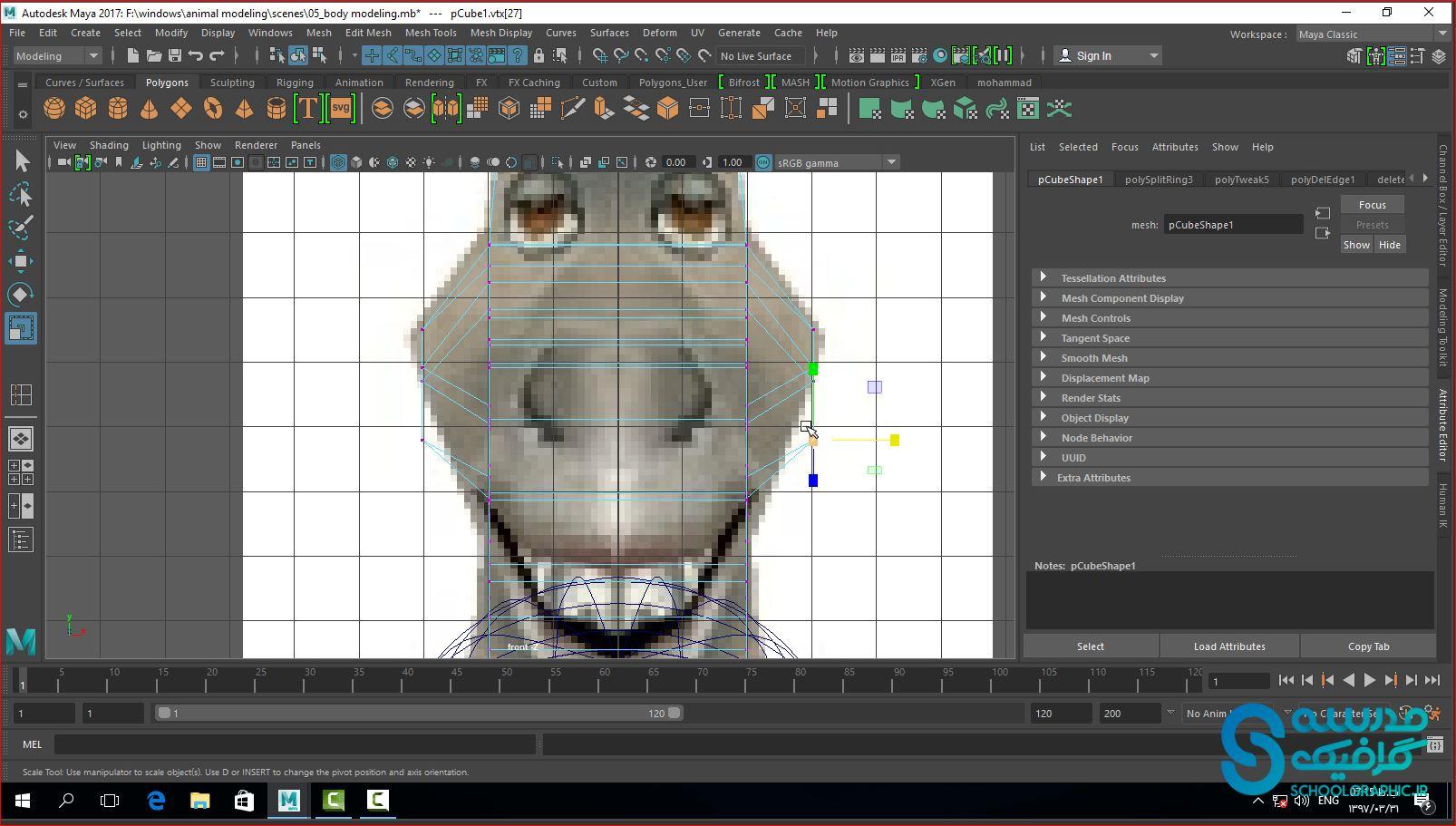 مدلسازی حیوان قسمت 5 سر