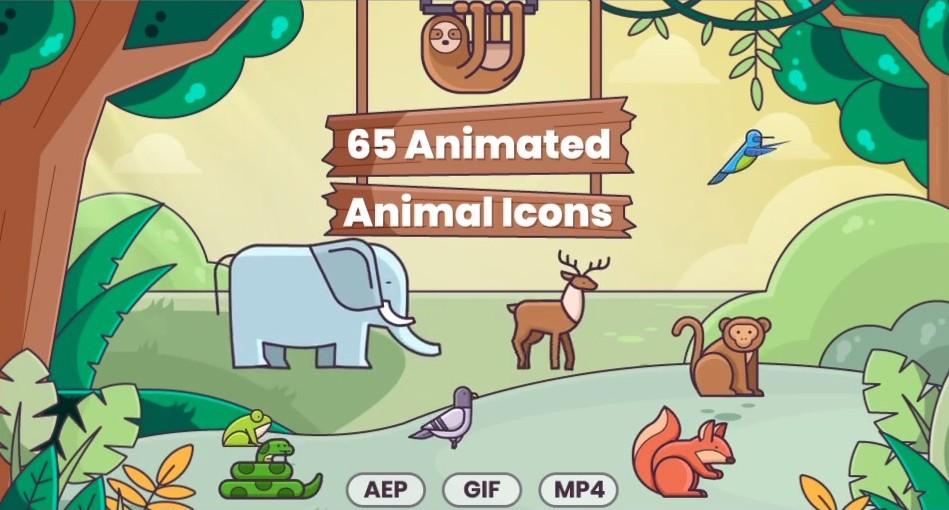 آیکون متحرک حیوانات برای افترافکت